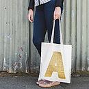 Gold Glitter Initial Tote Bag