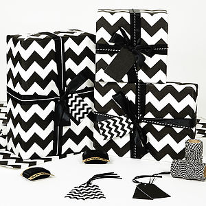 Recycled Black Chevron White Wrapping Paper - ribbon & wrap