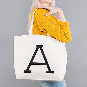 Initial Big Canvas Bag - gifts under £25
