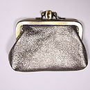 Leather clip purse in pewter