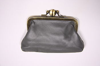 leather clip purse in grey
