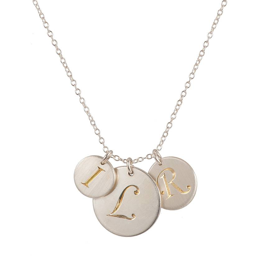 Personalised hand engraved initial necklace by harry rocks personalised hand engraved initial necklace trio of silver discs with gold initials aloadofball Images