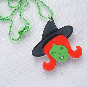 Witch Halloween Acrylic Necklace - jewellery & accessories
