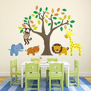 Jungle Animals And Tree Wall Stickers - baby's room