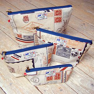 Vintage Airmail Cosmetic Toiletry Wash Bag - make-up & wash bags
