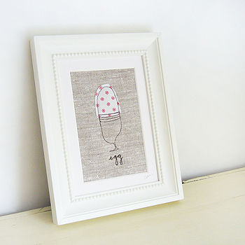 Embroidered Spotty 'Egg' Picture