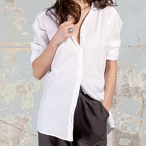 Amy White Cotton Shirt - tops