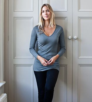 Superfine Cashmere V Neck Sweater - Slate