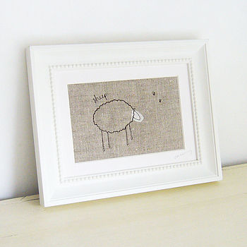 Embroidered Natural 'Sheep' Picture