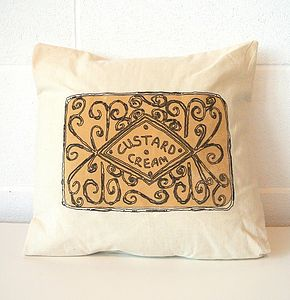 Custard Cream Cushion - patterned cushions