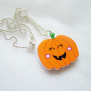 Pumpkin Acrylic Halloween Necklace