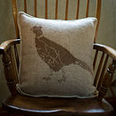 Pheasant Wool Cushion Cover Brown