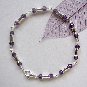 Amethyst Handmade Sterling Silver Bracelet - bridesmaid accessories