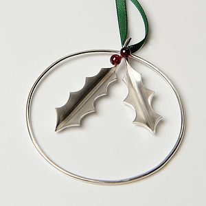 Sterling Silver Holly With Garnet Berries Decoration - garlands & bunting