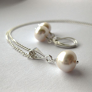 Simplicity Pearl Earrings and Necklace - women's jewellery