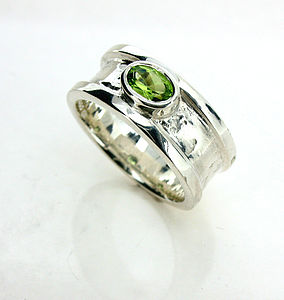 Small Peridot Drum Ring - rings