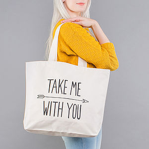 'Take Me With You' Big Canvas Bag - holiday shop