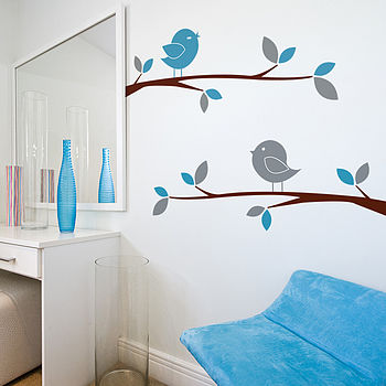 Birds On Tree Branches Wall Stickers
