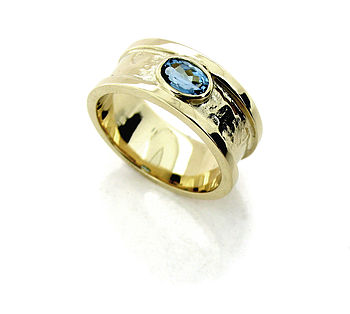 Small Gold Vermeil Blue Topaz Drum Ring