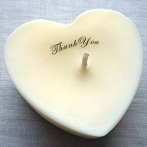 Personalised 'Thank You' Scented Heart Candle - albums & keepsakes
