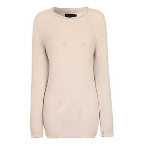 Bom Cream Cotton Knit Sweater - jumpers & cardigans