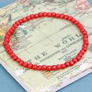 Red small round wooden bead