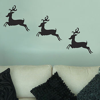 Set Of Three Reindeer Wall Stickers