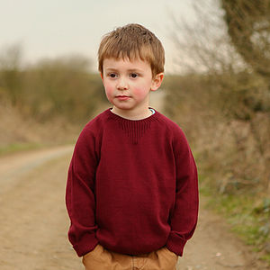 Childs Cotton And Cashmere Raglan Jumper
