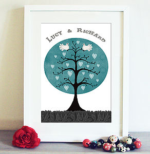 Personalised Dove Tree Print - personalised art