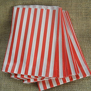 100 Red Striped Paper Candy Sweet Bags - favour bags & boxes