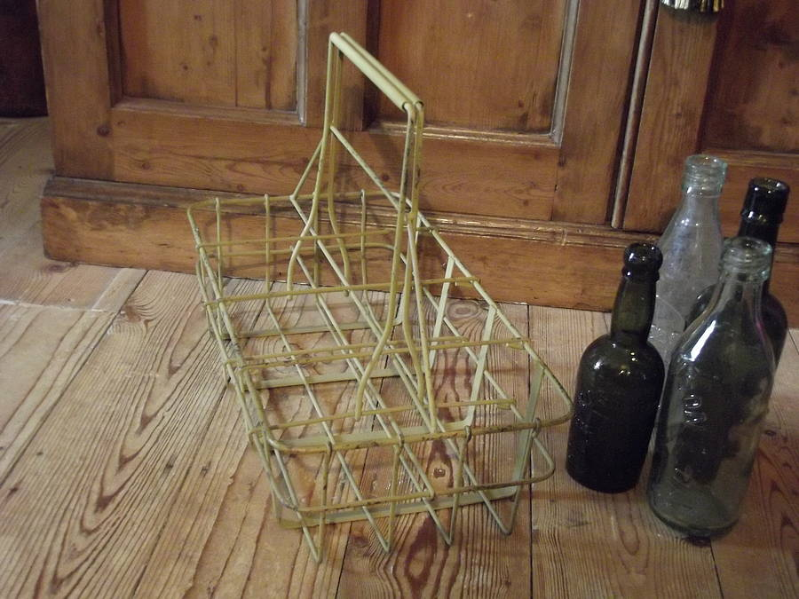 Industrial metal wine bottle carrier by woods vintage home interiors - Wire wine bottle carrier ...