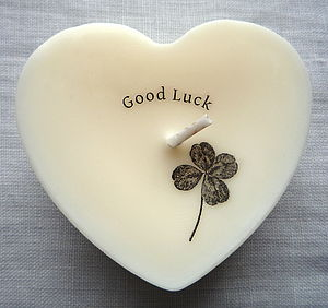 Personalised 'Good Luck' Scented Heart Candle - dining room