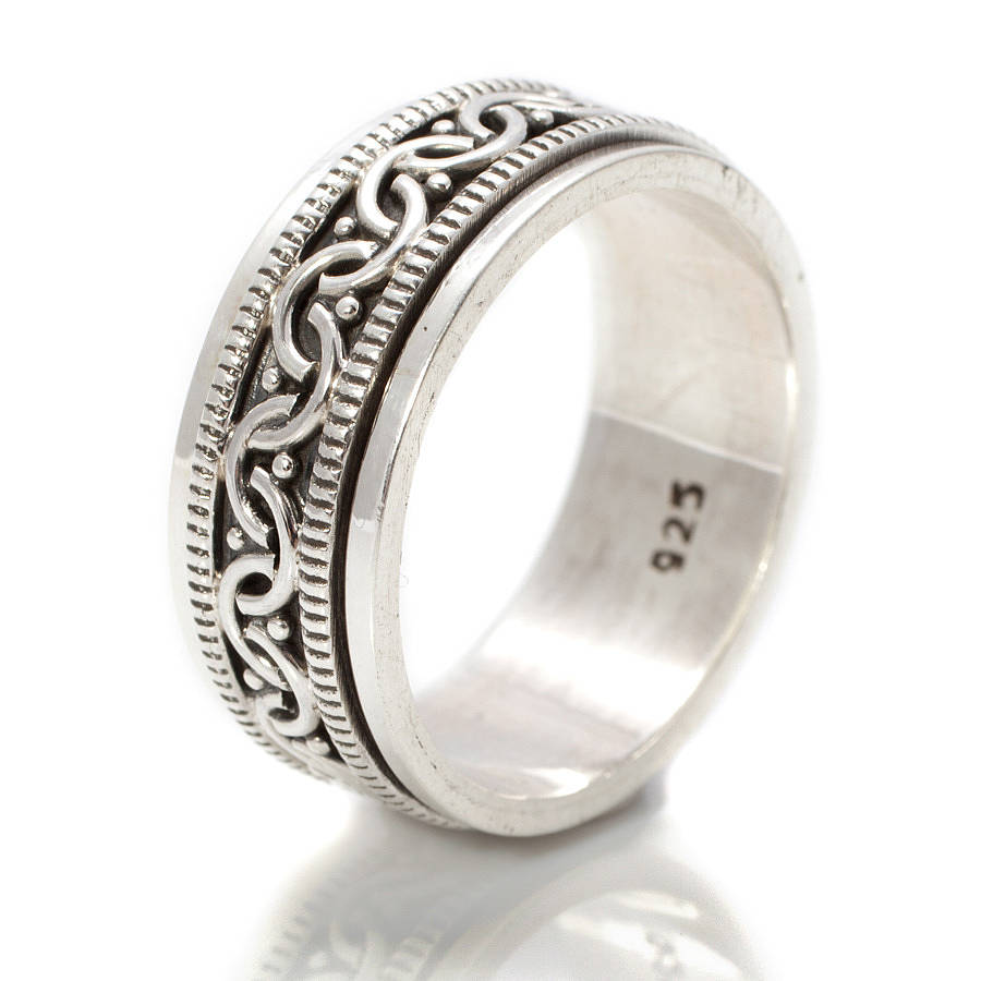 celtic silver spinning ring by s web jewellery