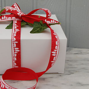 25m Roll Of Vintage Village Christmas Ribbon - cards & wrap