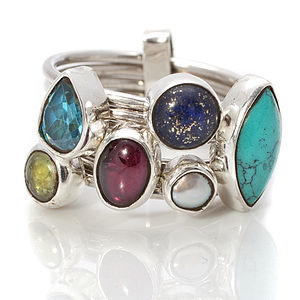 Multi Colour Gemstone Silver Stacking Ring - rings