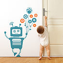 Robot Holding Flowers Wall Sticker
