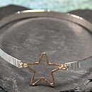 Single Hammered Bangle With Gold Star
