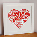 Personalised Wedding Papercut Style Print