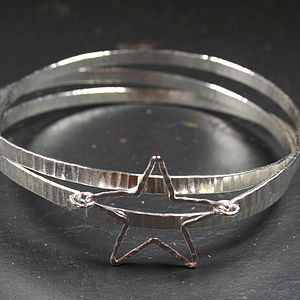 Hammered Spiral Bangle With Silver Star - bracelets & bangles