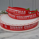 25m Roll Of Red Merry Christmas Ribbon