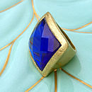 Gold Cocktail Ring With Blue Gem