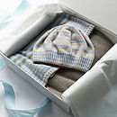 Baby Blanket and Hat Gift Set in blue
