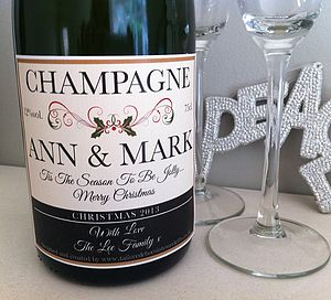 Christmas Champagne Label - table decorations