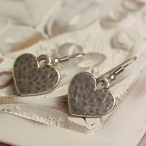 Single Silver Hammered Heart Earrings - earrings