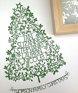 Personalised Christmas Family Tree Papercut