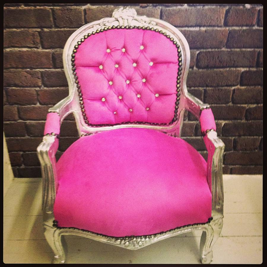 Hot pink vintage style childrens chair by made with love for Pink kids chair