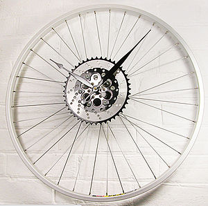 Bike Wheel Sprocket Clock Black - living room