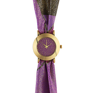 Purple Glitter Fabric Watch - gifts under £25 for her