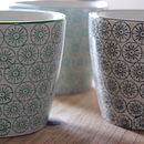 Set Of Three Hand Printed Porcelain Mugs