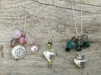 Embossed Floral Sterling Silver Necklaces